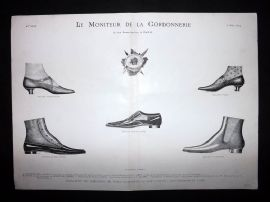 Le Moniteur de la Cordonnerie 1894 Rare Antique Shoe Design Print 19